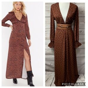 NWT Nasty Girl Ditsy Rose Button Down Maxi Dress